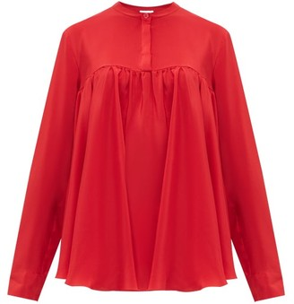 Giambattista Valli Gathered Silk Crepe De Chine Blouse - Red