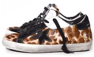 Golden Goose Superstar Sneakers in Leopard Patch/Black Star