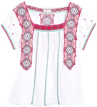 Johnny Was Kaya Crop Embroidered Peasant Top