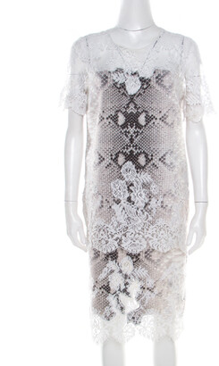 Ermanno Scervino Python Printed Jersey Lace Trim Top and Skirt Set M/L