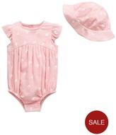 Ladybird Baby Girls Muslin Bodysuit And Sun Hat Set
