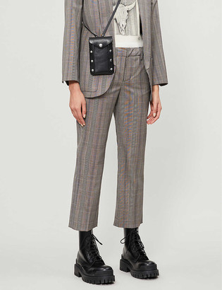 Zadig & Voltaire Posh checked cropped tapered wool trousers