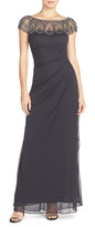 Xscape Evenings Embellished Illusion Ruched Jersey Gown