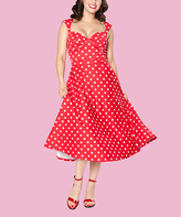 Bettie Page Red & White Dot Roman Holiday Dress - Plus Too