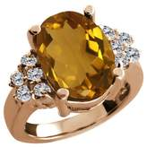 Gem Stone King 4.63 Ct Oval Champagne Quartz White Diamond Rose Gold Plated Silver Ring