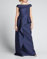 Thumbnail for your product : Rickie Freeman For Teri Jon Metallic Jacquard Cap-Sleeve Asymmetric Peplum Gown