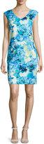 Neiman Marcus Floral Patterned Sheath Dress, Blue