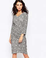 Ichi Printed Wrap Front Dress