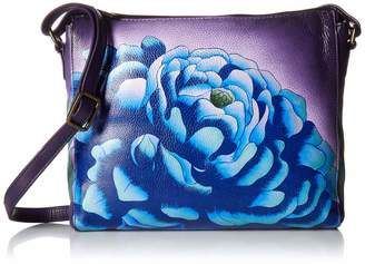 Anuschka Anna by Women's Genuine Leather Slim Square Cross Body | Hand Painted Original Artwork | Precious Peony