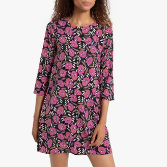 Compania Fantastica Floral Print Short Dress with 3/4 Length Sleeves
