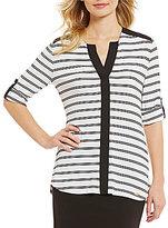 Calvin Klein Long Roll-Tab Sleeve Stripe Knit Tunic