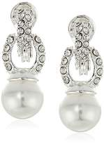 Anne Klein Silver-Tone Pearl and Crystal Drop Clip-On Earrings