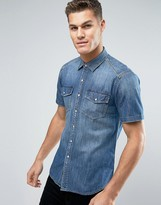 Replay Denim Pocket Shirt Regular Fit Mid Wash Short Sleeve