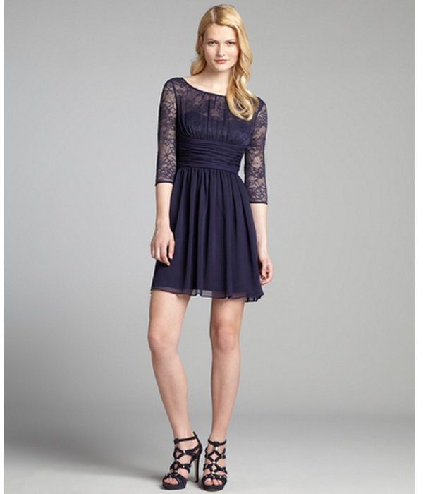 Max & Cleo navy lace and chiffon three quarter sleeve 'Jasmie' dress