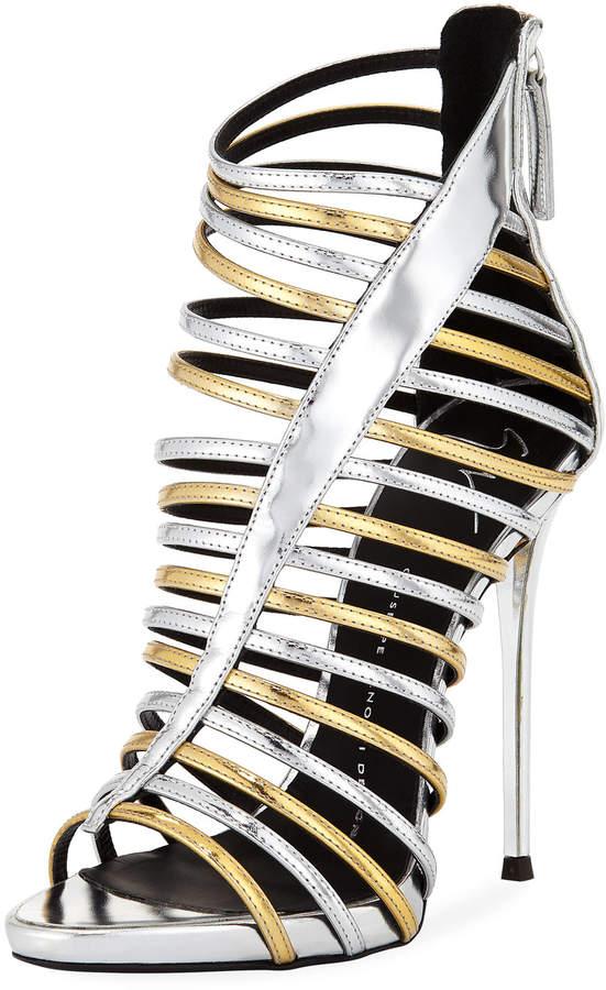 Giuseppe Zanotti Metallic Two-Tone Caged Sandal