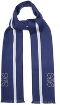 Loewe Logo and stripe-jacquard wool and silk-blend scarf