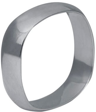 Edge Only 9Ct White Gold Squared Off Ring 6Mm Mens Wide D Shaped Wedding Band