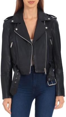 AVEC LES FILLES Lamb Leather Cropped Biker Jacket