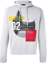 DSQUARED2 mountain print hooded sweatshirt - men - Cotton/Wool - S