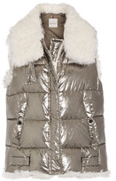 Moncler Kerria Shearling-trimmed Metallic Quilted Cotton Down Vest - Silver