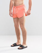 Asos Swim Shorts With Extreme Side Splits In Coral Super Short Length