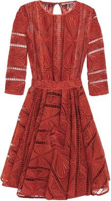 Maje Gathered Guipure Lace Mini Dress
