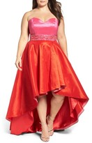 Mac Duggal Plus Size Women's Strapless Colorblock High/low Gown
