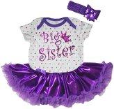 Petitebella Big Sister Rainbow Points White Bodysuit Tutu Set Nb-18m (12-18 Months)