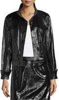 Frame Shiny Leather Crop Jacket, Noir