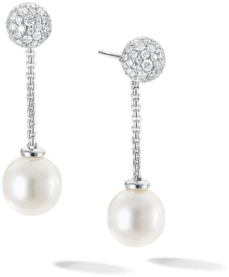 David Yurman 18kt white gold Solari chain drop pearl and diamond earring