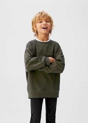 MANGO Flecked pleated sweatshirt khaki - 5 - Kids
