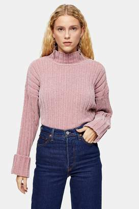 Topshop Womens Knitted Chenille Turnback Cuff Cropped Jumper - Rose