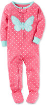 Carter's 1-Pc. Dot-Print Butterfly Footed Pajamas, Baby Girls (0-24 months)