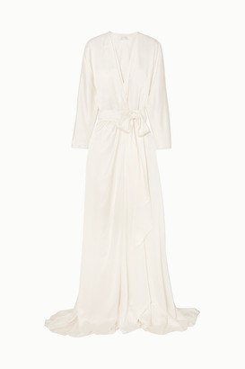 Jenny Packham Aster Satin-crepe Wrap Gown - Ivory