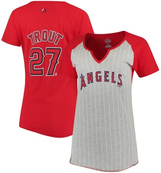 Majestic Women's Mike Trout Gray/Red Los Angeles Angels From the Stretch Pinstripe Name & Number T-Shirt