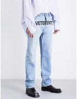 Vetements Logo-print Regular-fit Straight Jeans