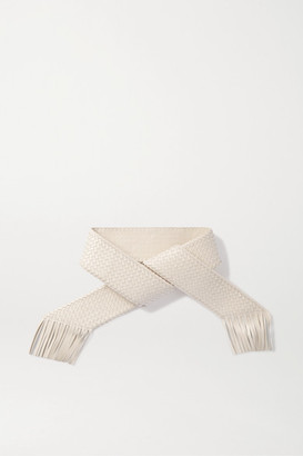 Cult Gaia Banu Fringed Woven Faux Leather Belt - Cream