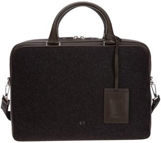 Christian Dior Logo Two-Tone Briefcase