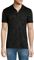 Versace Greek Key Stamped Polo Shirt, Black