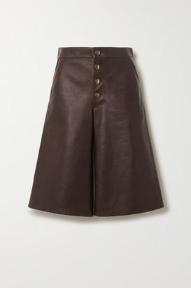 Bottega Veneta Embellished Leather Shorts - Brown