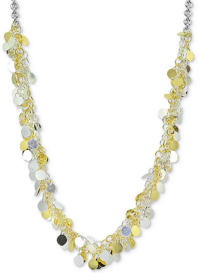 """Giani Bernini Two-Tone Shaky Disc 18"""" Statement Necklace in Sterling Silver and 18k Gold-Plate, Created for Macy's"""