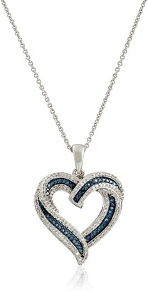 """Amazon Collection Sterling Silver Blue and White Diamond Heart Pendant Necklace (1/2 cttw) 18"""""""