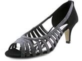 Easy Street Shoes Sparkle Women Peep-toe Canvas Black Heels.