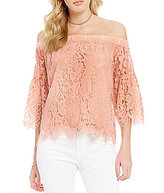 Jessica Simpson Delani Off-The-Shoulder Bell-Sleeve Floral-Lace Scalloped Blouse
