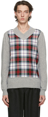 Comme des Garçons Shirt Grey Fully Fashioned Tartan V-Neck Sweater