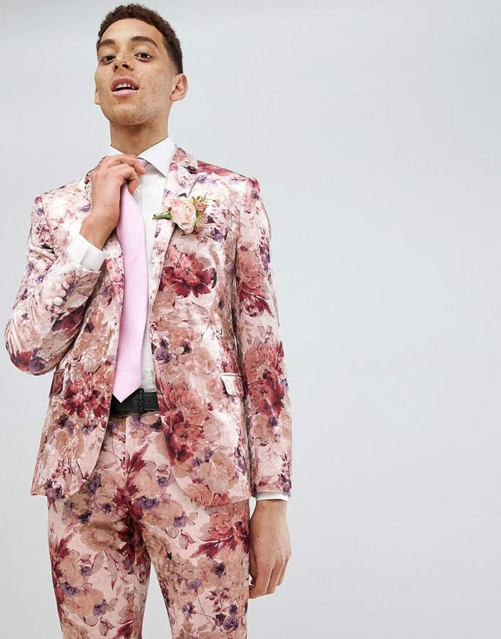Moss Bros Skinny Suit Jacket In Floral Crushed Velvet