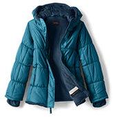Lands' End Girls Fleece Lined Puffer Jacket-Magenta Rose Large Dots