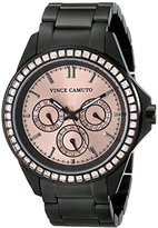 Vince Camuto Women's VC/5087RGBK Peach Swarovski Crystal Accented Multi-Function Matte Black Bracelet Watch