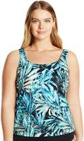 Maxine Of Hollywood Women's Plus Size Twilight Tropical Scoop Neck Tankini