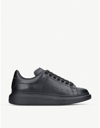 Alexander McQueen Mens Black Show Leather Platform Sneakers